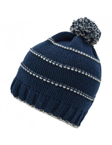 Bonnet rayé avec pompon en tricot...