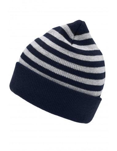 Bonnet rayé 2 épaisseurs de tricot